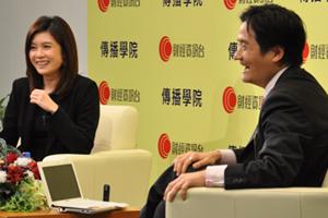 李燕芬小姐(左一)訪問黃元山先生對中國經濟增長的看法 4