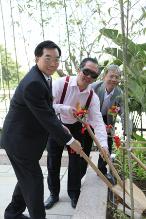 Mr. Tam, Dr. Chui and Project Manager Mr. Edmond Lo Kin Kuen were taking Part in bamboo planting.