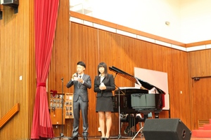 Two students, Kenneth Mak and Jessica Leung were the MCs of the Ceremony