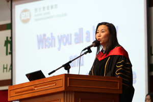 Prof. Scarlet Tso, Associate Vice-President (Public Relations) and Dean of School of Communication delivered high expectation to the freshmen