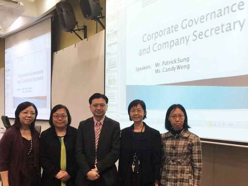 A group photo of the guest speakers and our teaching staff. (From left to right) Ms Betty Kwok, Ms Candy Wong (Director - Education and Examinations of HKICS), Mr Patrick Sung (Executive Director and Chief Financial Officer of Guangnan (Holdings) Limited), Dr Heather Lee and Dr Julia Liu