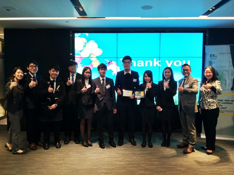 Eight of our BBA with Accounting Concentration students are among total 32 students selected from tertiary universities to enter the Hong Kong regional final competition. Mr Wilson Cheng (second from right), EY Tax partner, cheers for our students