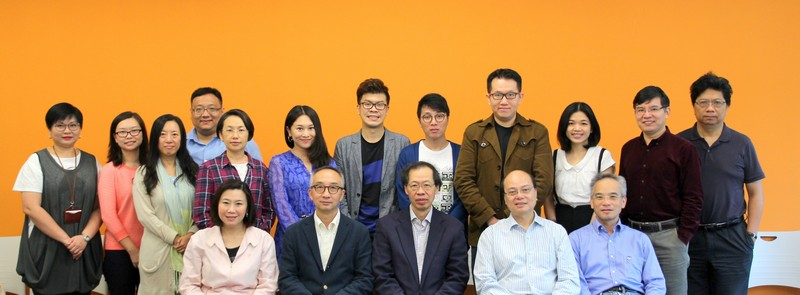 Group photo with Professor Lui Tai Lok (first row, 2nd from left), Professor Hui Yer Van (first row, centre) Professor Raymond So (first row, first from right), Professor Scarlet Tso (first row, first from left) and academic staff of School of Communication