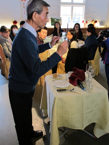 Mr Patrick Chan, Senior staff from Gingko House explained the proper position and the usage of tableware
