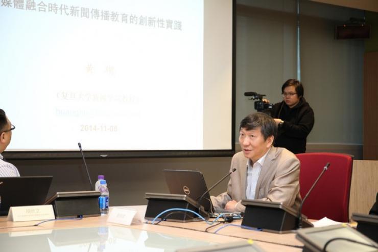 Prof Huang Hu, Deputy Dean of Journalism School, Shanghai Fudan University, delivered a speech