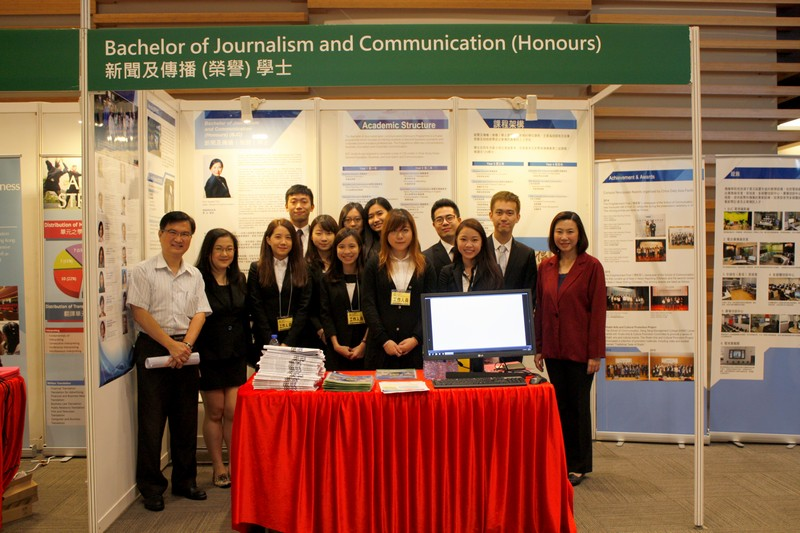 Group Photo of Dean Scarlet Tso ( School of Communication), Associate Dean James Chang (School of Communication) and student representatives