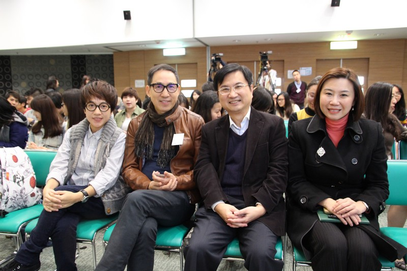 Group photo of Miss Ng, Mr Cheung, Mr James Chang, Head of Department and Prof Scarlet Tso, Dean of the School of Communication (from left to right)