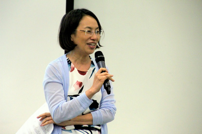 "Ms Sharon Chen introduced the newly launched ""TV Lab Production Practicum Workshop"""