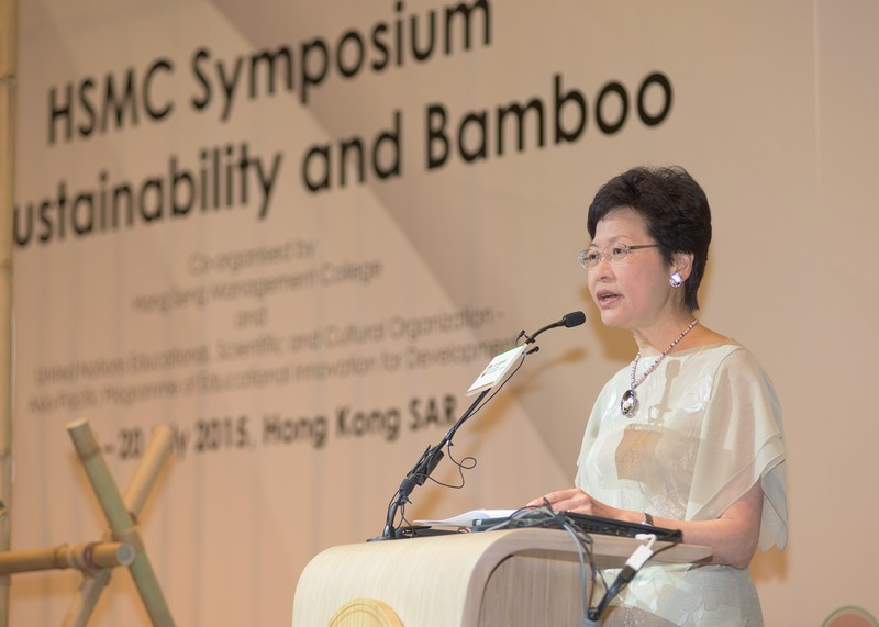 Mrs Carrie Lam giving a speech