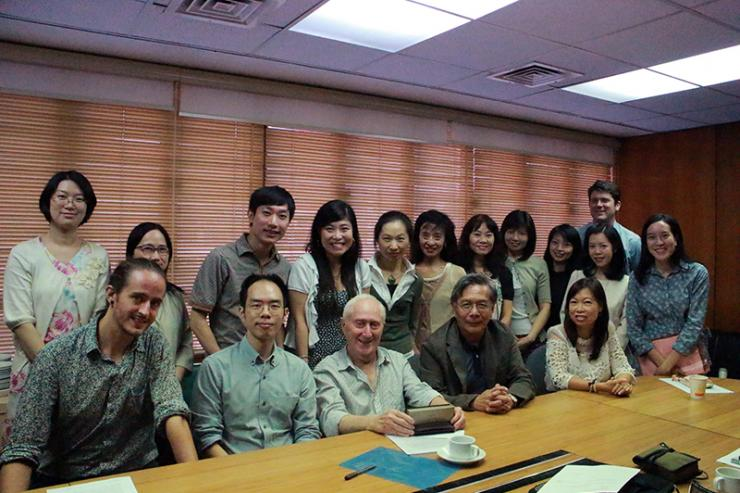 Group photo of Prof David Parker with teachers