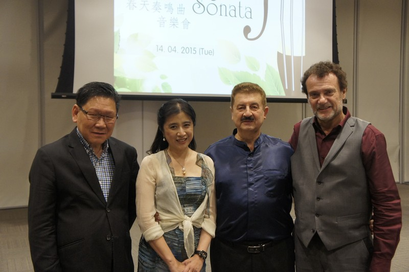 (From left to right) Professor Gilbert Fong, Provost, Dr Cheng Wei, Professor Vadim Mazo and Professor Stephen D Press