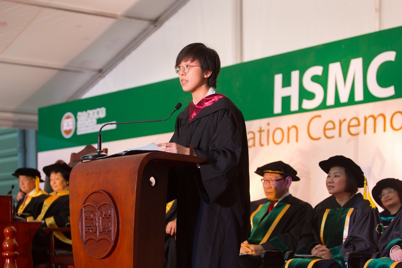 Ms Sharon Wong delivered a valedictorian speech on behalf of the graduates