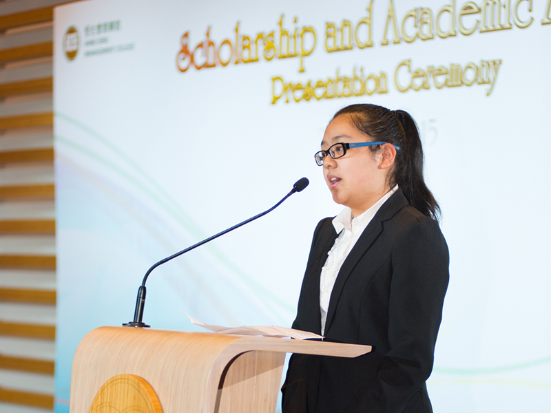 Miss Chan Ho Yi Ivy, a scholarship recipient of Entrance Scholarship 2014/15, delivered a thank-you speech