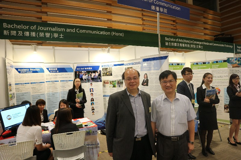 Associate Dean James Chang(right)and Professor Trevor Siu(left) were at the exhibition counters