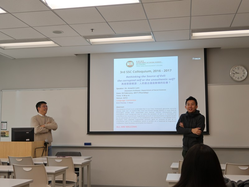 Dr WONG Muk Yan (right) kicked off the colloquium with an introduction to Dr Anselm Lam's presentation