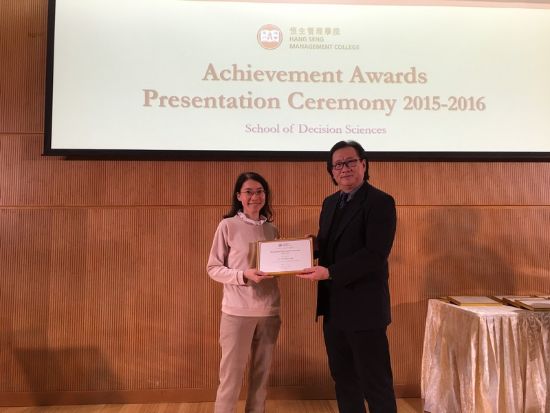 Academic staff received awards from Dean Lawrence Leung, School of Decision Sciences. -2