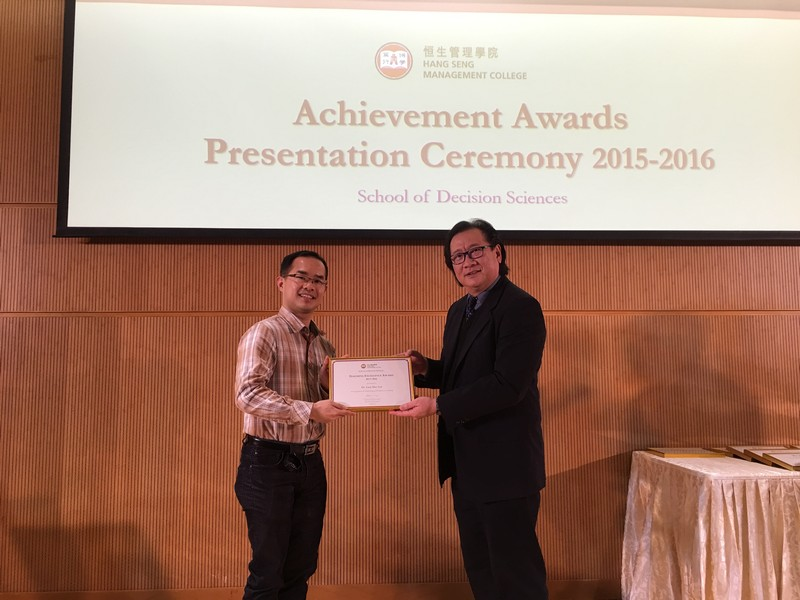 Academic staff received awards from Dean Lawrence Leung, School of Decision Sciences. -3