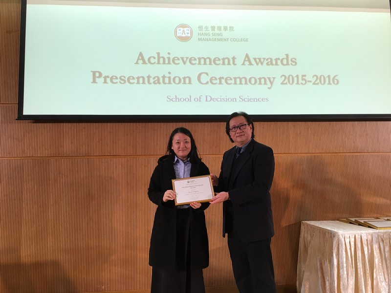 Academic staff received awards from Dean Lawrence Leung, School of Decision Sciences. -4