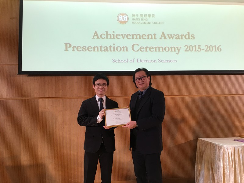 Academic staff received awards from Dean Lawrence Leung, School of Decision Sciences. -8