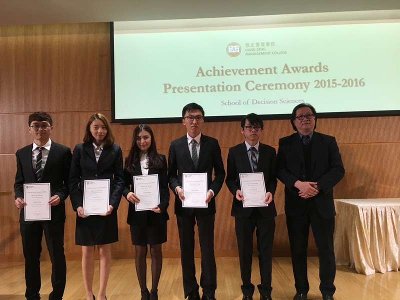 BSC-DSBI students received awards from Dean Lawrence Leung, School of Decision Sciences.