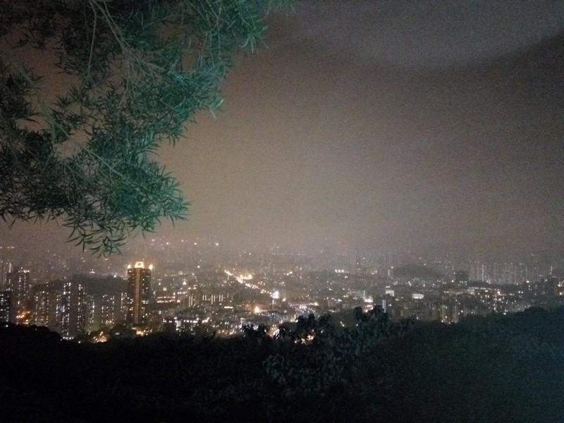 從獅子山山腰俯瞰九龍半島的夜景