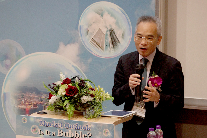 "Professor Raymond So, Dean of School of Business, gave welcome remarks and defined ""Market Bubble"""