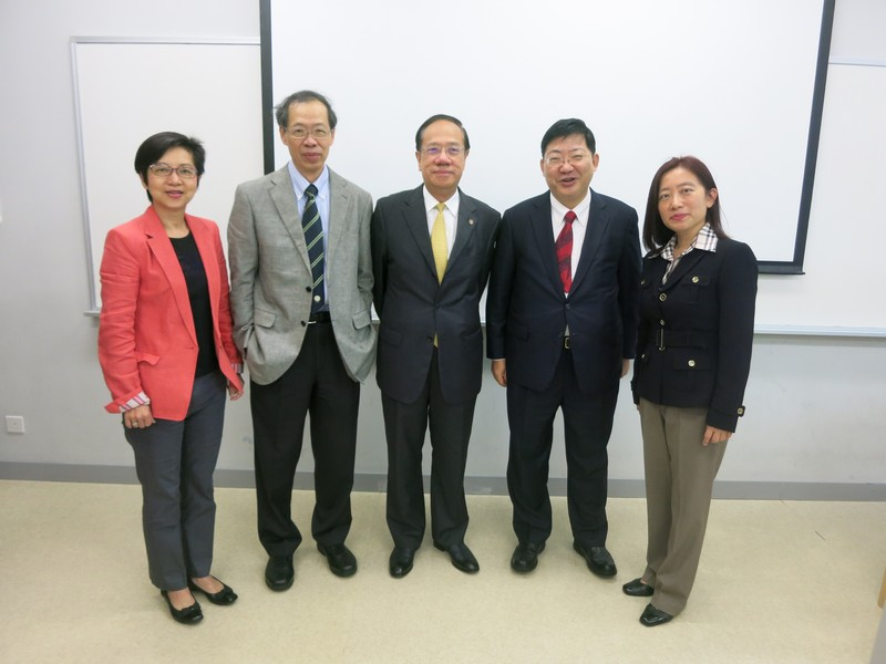 (From left to right) Ms Rebecca Chan, Director of Student Affairs, Vice-President Y V Hui (Academic and Research), Professor Albert Yip, President Simon S M Ho, Ms Joanna Kwok, Director of Executive Development Centre