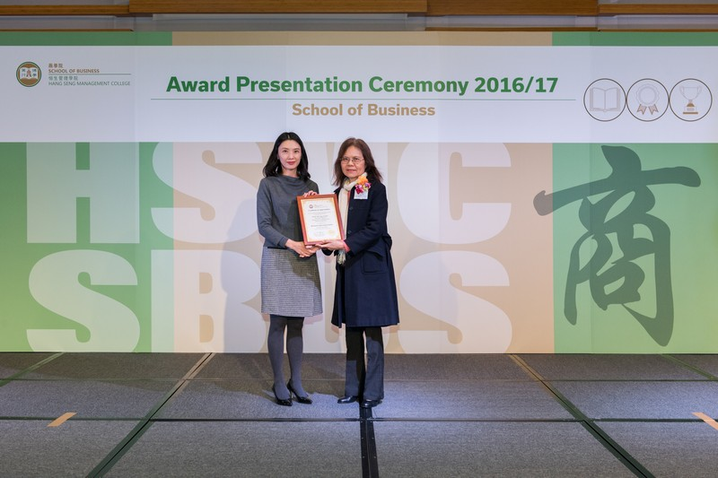 Prof Irene Chow, Head of Department of Management (right), presented the award to Dr Jeanne Fu.