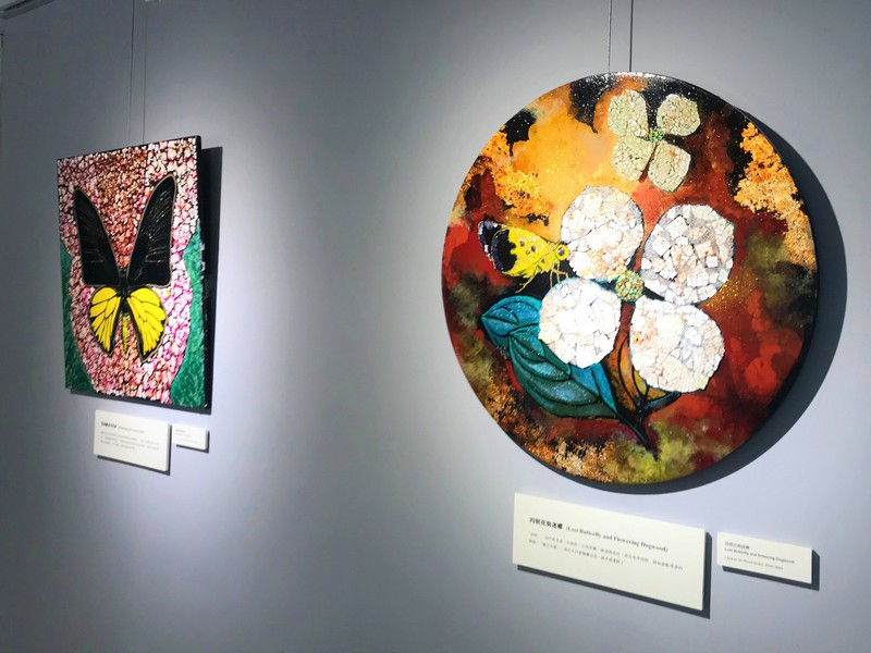 Lacquer paintings: Lost Butterfly and flowering Dogwood and Birdwing and Aristolochia