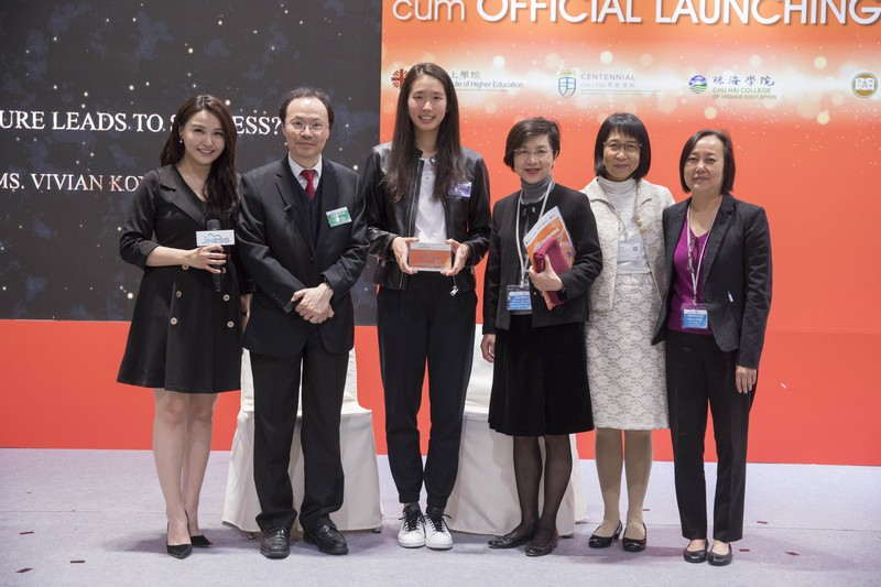 Vivian Kong, Hong Kong fencer (third from left), shared how she overcame difficulties with her strong and confident attitude, and her way of smiling through failures.
