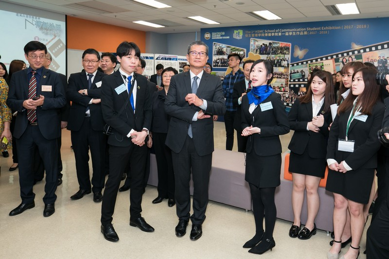 Mr Paul Chan visited the First HSMC School of Communication Student Exhibition.