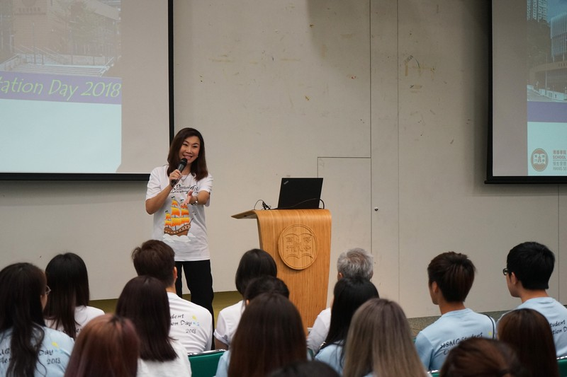 Professor Scarlet Tso, Dean of the School of Communication, introduced the School to the freshmen.