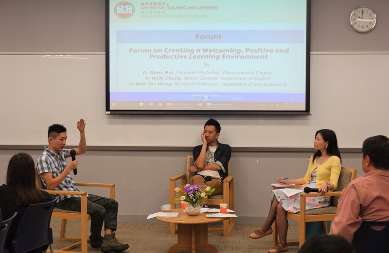 Forum on Creating a Welcoming, Positive and Productive Learning Environment was conducted by Dr Gavin Bui, Associate Professor of Department of English (left), Dr Wong Muk Yan, Associate Director (Common Core Curriculum) of CTL (middle) and Dr Holly Chung, Senior Lecturer of Department of English.
