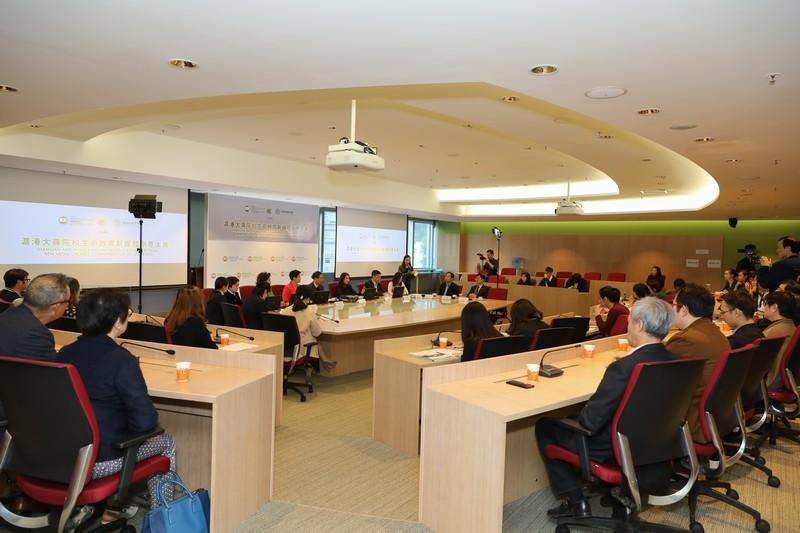 一眾傳媒及恒大師生今日出席「滬港大專院校生命教育新媒體創意大賽」啟動禮。