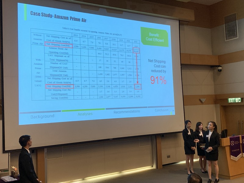 HSUHK's SCM team members showed their excellent presentation skills and team spirit in analysing the assigned topic.