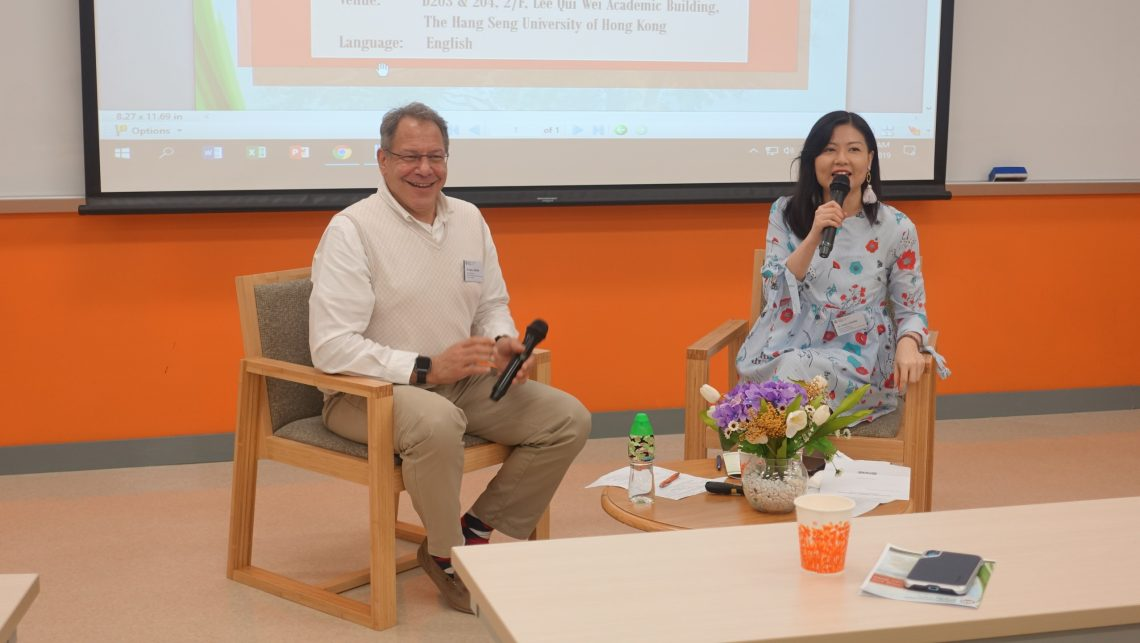 Mr Marc LeBane, Senior Lecturer, Centre for English and Additional Language, the Lingnan University (left) and Dr Holly Chung, Senior Lecturer, Department of English, HSUHK (right).