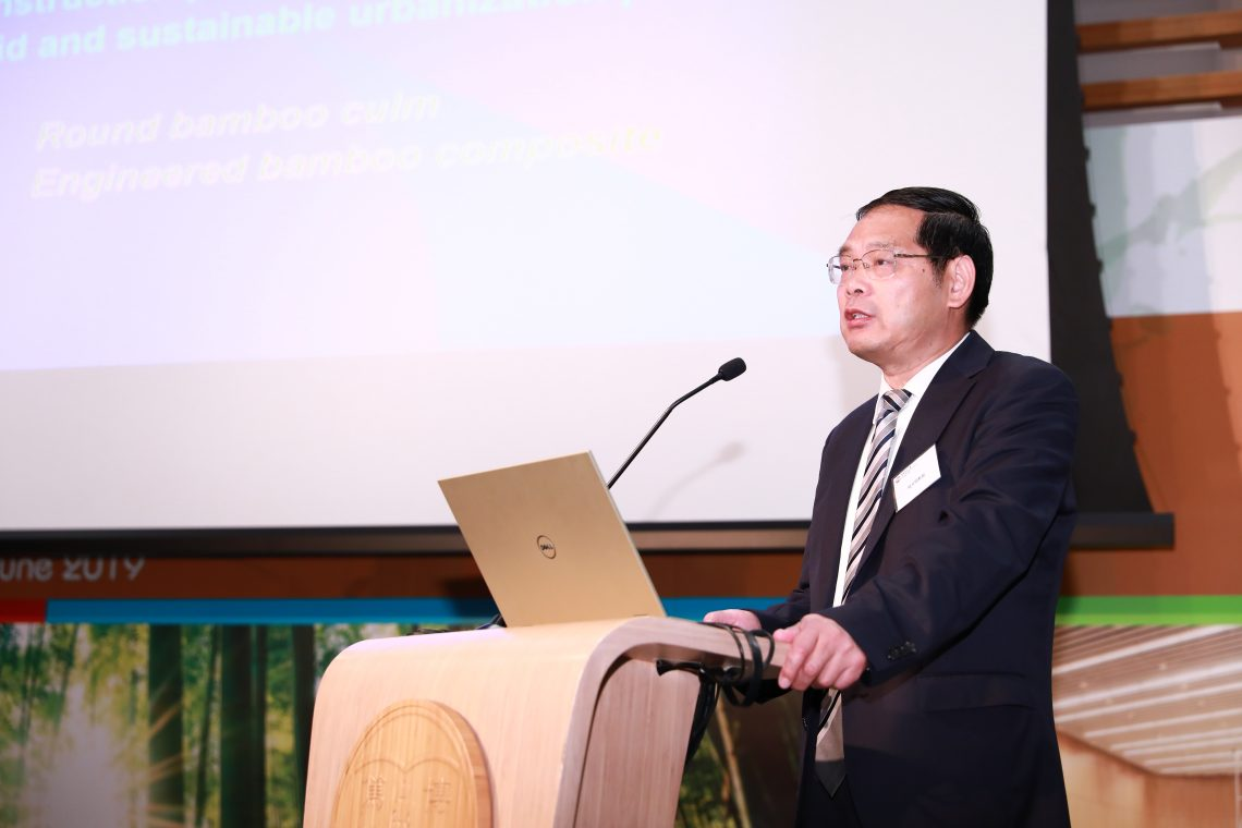 "Deputy Director General of INBAR Professor Lu Wen-ming sharing in his keynote speech ""Opportunities and Challenges for the Development of Global Bamboo Construction Industry"""