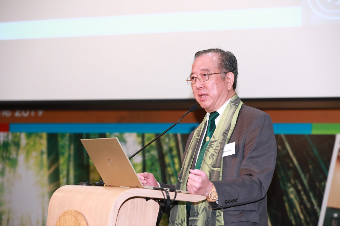 HSUHK Governor, Chairman of FHKI-BIC and Task Force Expert Member – Bamboo Construction of INBAR Mr Martin Tam reiterating the important role of bamboo in resisting global warming