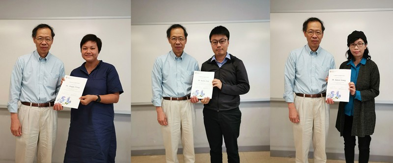 Prof Y V Hui awarded certificates of appreciation to S-L teachers