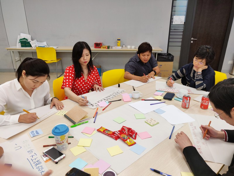 Participants engaged in tasks to try out Design Thinking processes and to create innovative project and class teaching designs