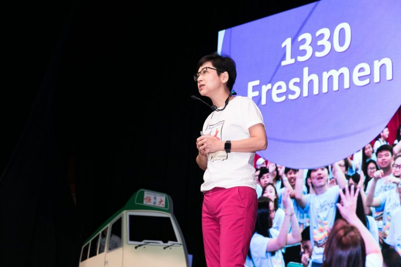 Ms Rebecca Chan, Director of Student Affairs Office, encouraged the freshmen to enjoy and develop themselves in their campus life.