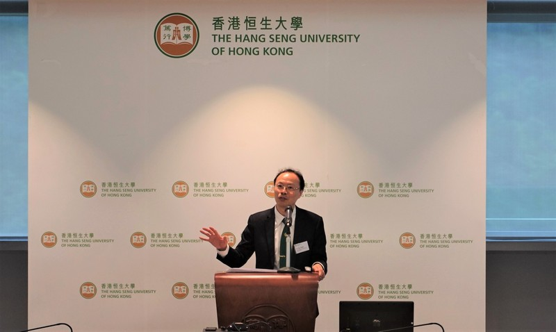 """Dr Tom Fong introduced student services in the """"Sharing on Teaching, Research and Student Learning at HSUHK"""" session"""