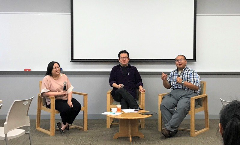 """""""Forum on Creating a Welcoming, Positive and Productive Learning Environment"""" was conducted by Ms Joey Lee, Senior Lecturer of Department of Accountancy (left); Dr Chan Chi Kit, Associate Professor of School of Communication (middle) and Dr Michael Chan, Senior Lecturer of Department of Social Science (right)."""