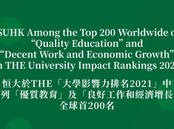 恒大於英國泰晤士高等教育(THE)「大學影響力排名2021」中位列「優質教育」及「良好工作和經濟增長」全球首200名