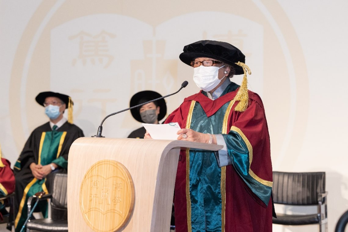 Dr Alice Lam delivers her speech on behalf of the four Honorary Doctorate recipients.