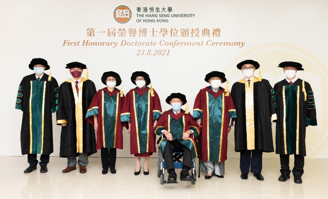 Group photo of (from left to right), Professor Y. V. HUI, Provost and Vice-President (Academic and Research); President Simon S. M. HO; the four Honorary Doctorate recipients; Dr Moses CHENG Mo-chi, Chairman of the Council of HSUHK; and Dr Tom FONG Wing-ho, Vice-President (Organisational Development).